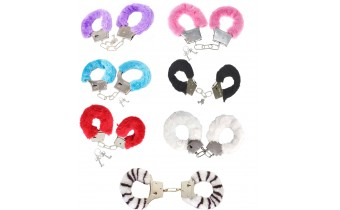 Fluffy Metal Fancy Handcuffs for Dress Up Or Adult Party Time